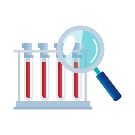 set of tube test with magnifying glass isolated icon vector illustration design