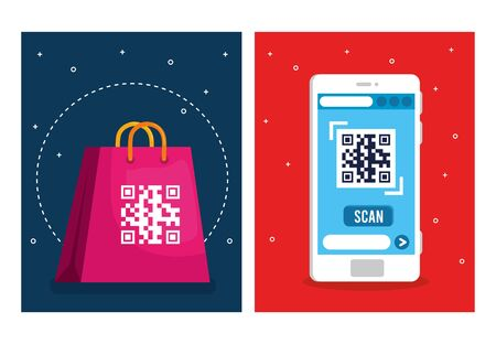 qr code over shopping bag and smartphone design of technology scan information business price communication barcode digital and data theme Vector illustration
