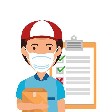 delivery worker using face mask with box carton and clipboard vector illustration design Ilustração Vetorial