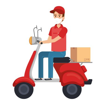 delivery worker using face mask in motorcycle with box vector illustration design