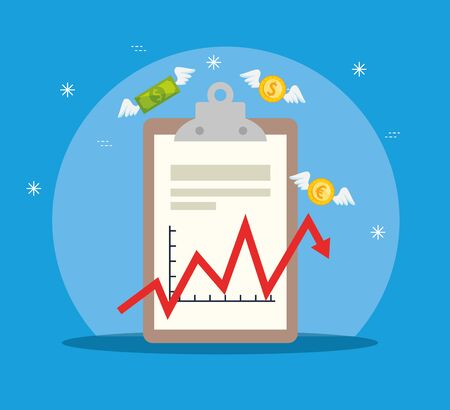 stock market crash with clipboard and icons vector illustration design Illustration