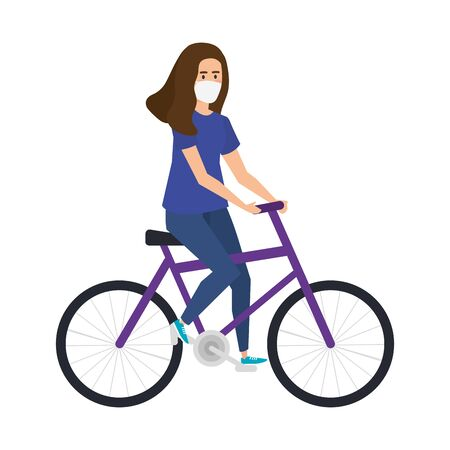 young woman with face mask in bike vector illustration design