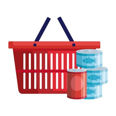 set of cans tuna food with basket shopping vector illustration design