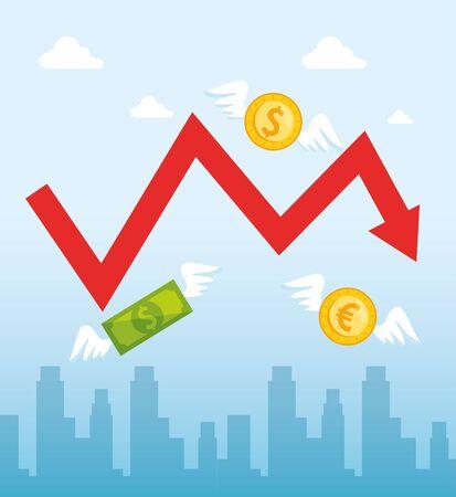 stock market crash with arrow up and money cash vector illustration design Illustration
