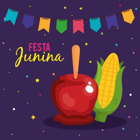 festa junina poster with apple candy and cob vector illustration design Vektorové ilustrace