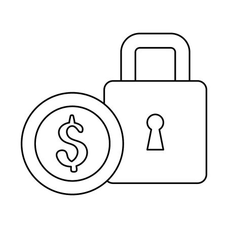 Padlock and coin design of Security system warning protection danger web alert and safe theme Vector illustration