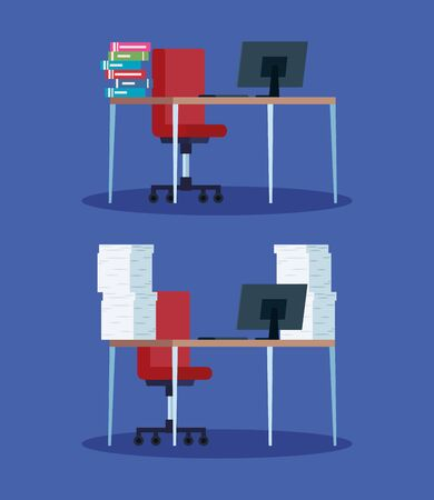 workplace with desk and computer vector illustration design