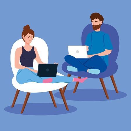 couple working in telecommuting sitting in chairs vector illustration design