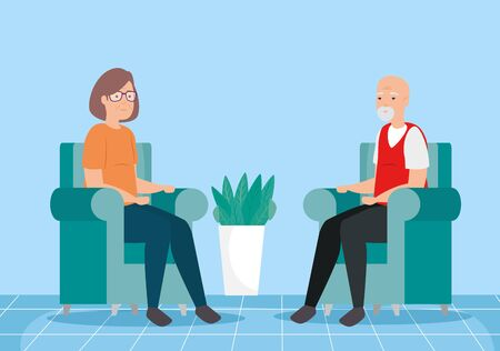 cute old couple in living room avatar character vector illustration design