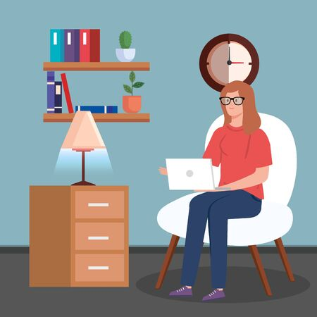 woman working in telecommuting sitting in chair with laptop vector illustration design