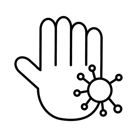 hand with particle covid 19, line style icon vector illustration design Vectores