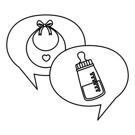 baby bottle milk with bib in speech bubbles vector illustration design