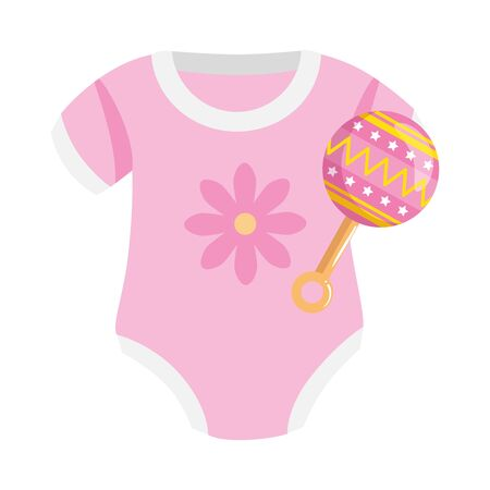 cute clothes baby girl with rattle isolated icon vector illustration design