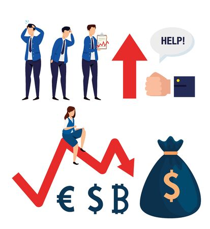 stock market crash with set icons vector illustration design