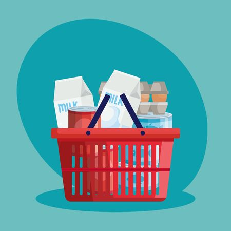 basket shopping with set groceries vector illustration design
