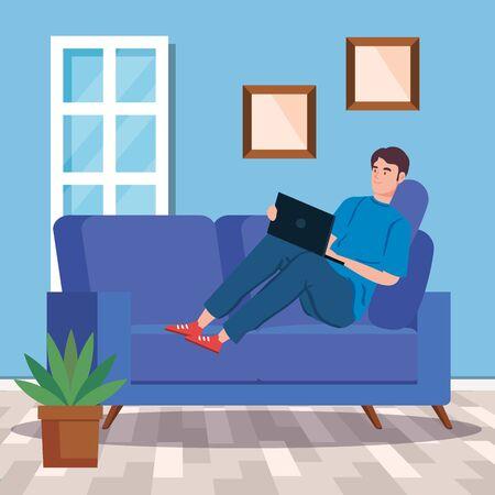 man working in telecommuting inside house vector illustration design