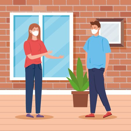 young couple with face mask indoor house scene vector illustration design  イラスト・ベクター素材