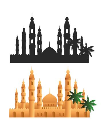 set scene of tal mahal icons vector illustration design