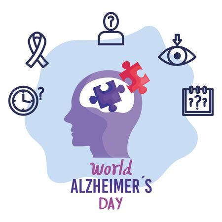 world alzheimer day with head profile and icons vector illustration design