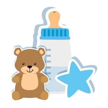 baby bottle milk with teddy bear and star vector illustration design Ilustración de vector