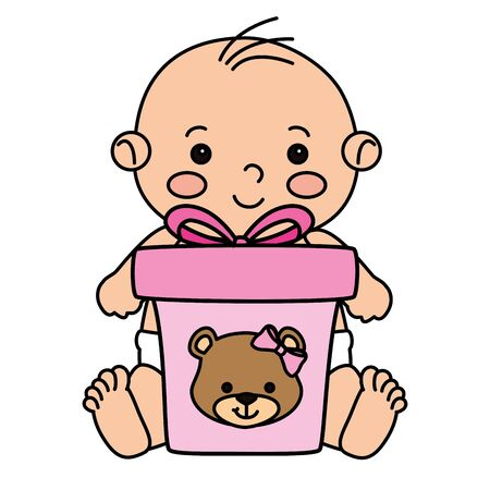 cute little baby boy isolated icon vector illustration design