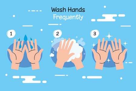 coronavirus 2019 ncov infographic with wash hands frequently campaign vector illustration design Vectores