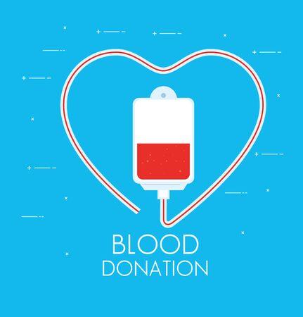 bag of blood donation in blue background vector illustration design