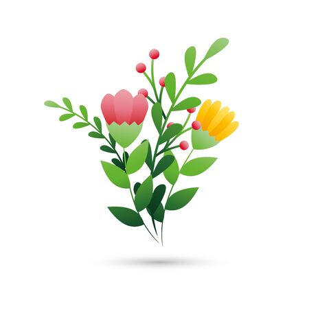 cute flowers with branches and leafs vector illustration design