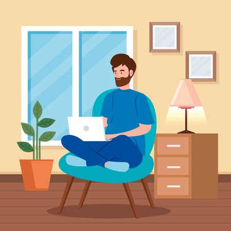 man working in telecommuting sitting in chair with laptop vector illustration design