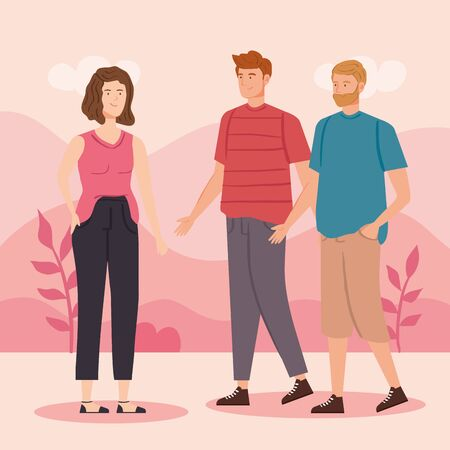 group of young people in landscape vector illustration design