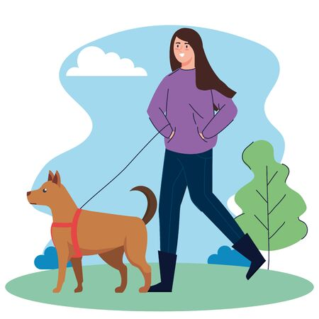 woman walking your dog in the park vector illustration design