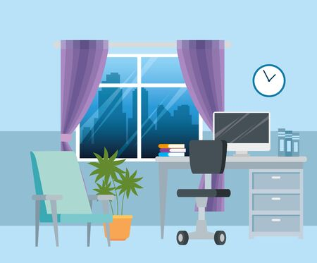 scene workplace with desk and computer vector illustration design