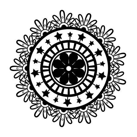 Black andala design of Bohemic ornament indian decoration retro vintage meditation henna ethnic arabic texture and tribal theme Vector illustration Ilustracje wektorowe