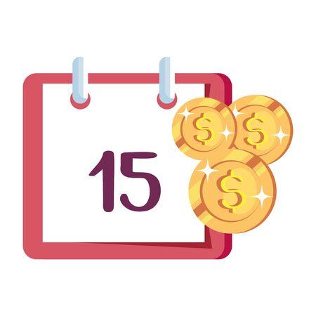 coins money with calendar reminder vector illustration design