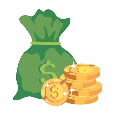 pile coins with money bag isolated icon vector illustration design