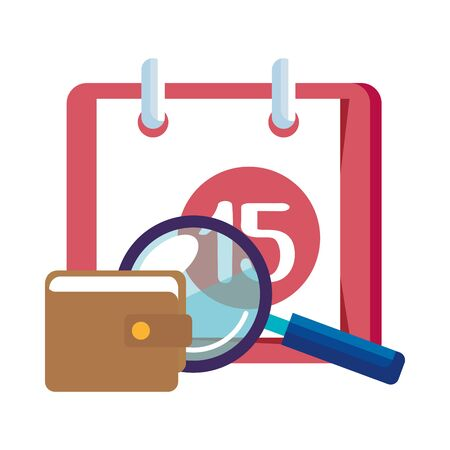 magnifying glass with calendar reminder and wallet vector illustration design