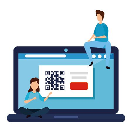 couple with code qr in laptop vector illustration design