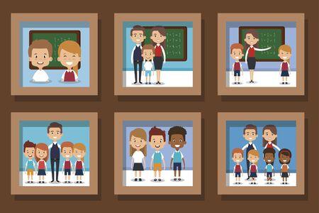 bundle designs of teachers and little students vector illustration design