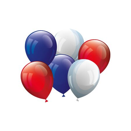 balloons helium white with red and blue vector illustration design