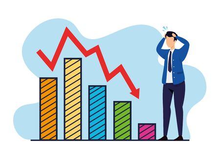 stock market crash with businessman and infographics vector illustration design