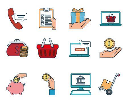 bundle of pay online set icons vector illustration design