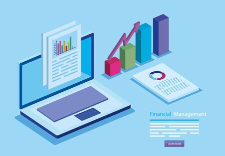 financial management with laptop and infographic vector illustration design