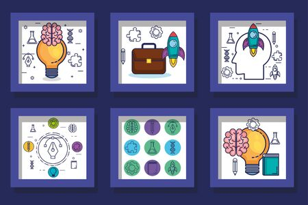 bundle designs of brainstorming and icons vector illustration design