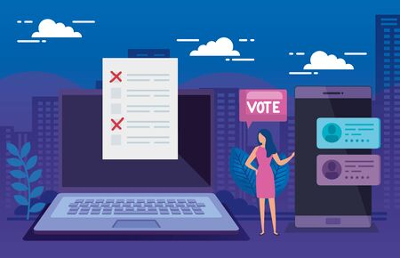 businesswoman with laptop and smartphone for vote vector illustration design