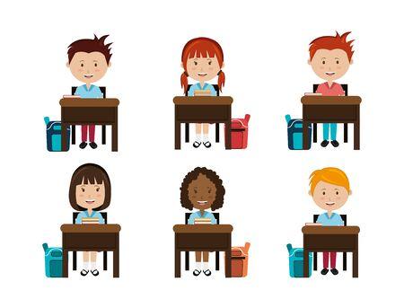 group of little students in school desk vector illustration design