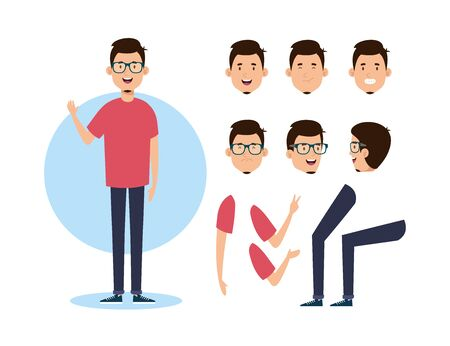 young man with body parts characters vector illustration design