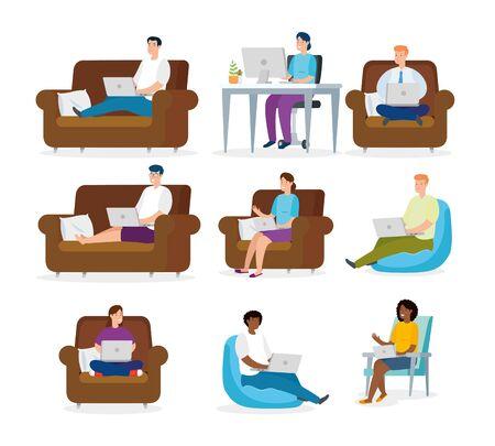 set scenes of people working at home vector illustration design