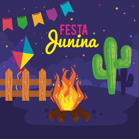 festa junina poster with cactus and icons traditional vector illustration design