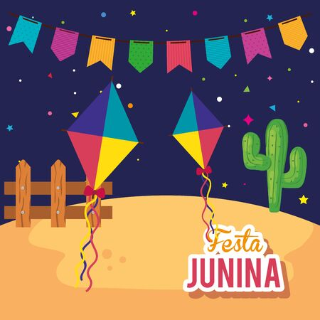 festa junina poster with kites and decoration vector illustration design Vectores