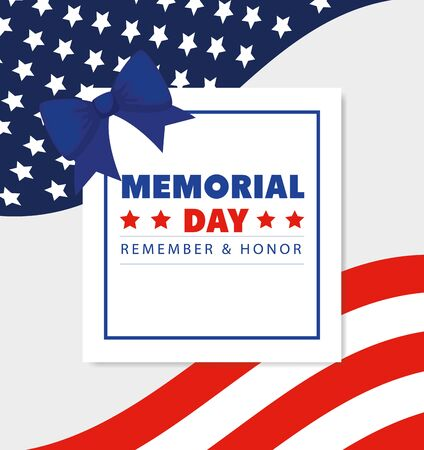 memorial day with square frame and bow ribbon decoration vector illustration design